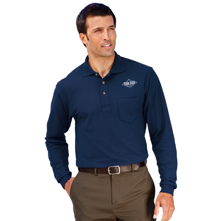 Men's Long Sleeve Pocket Core Performance Dri-Tech Polo